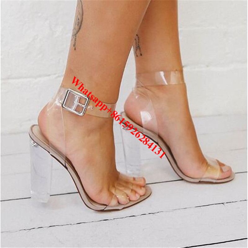 ФОТО Kim Kardashian PVC Women Party Sandals Clear Transparent Chunky High Heels Shoes Open Toe Fashion Ankle Strap Pumps Shoes Women