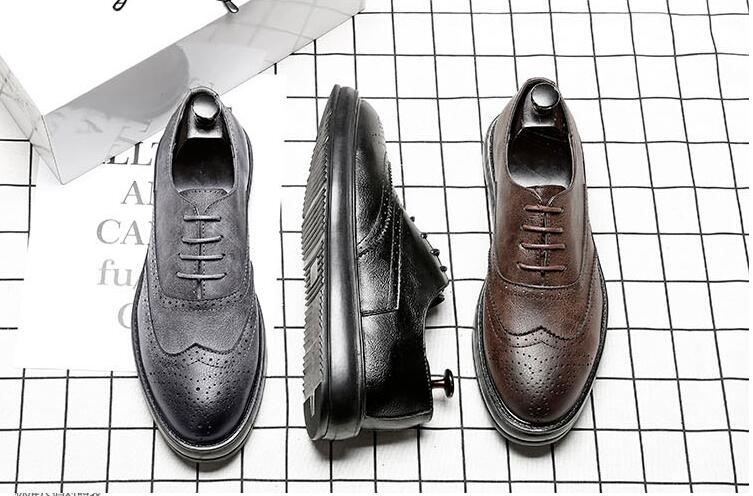 Platform Shoes men lace up genuine leather carved dress shoes fltas moccasins breathable new arrival fashion smart casual brogue men s brogue shoes fashion brown pointed toe leather shoes breathable lace up men casual shoes moccasins size 38 43 8205m