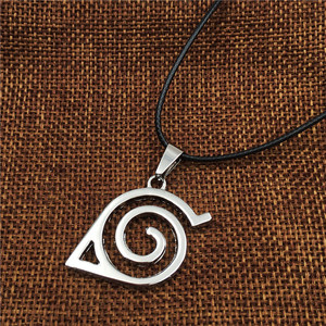 Image 4 - Wholesale 10pcs/lot Anime Jewelry Naruto Konoha Logo Pendant Necklace With Rope Chain For Men Gifts