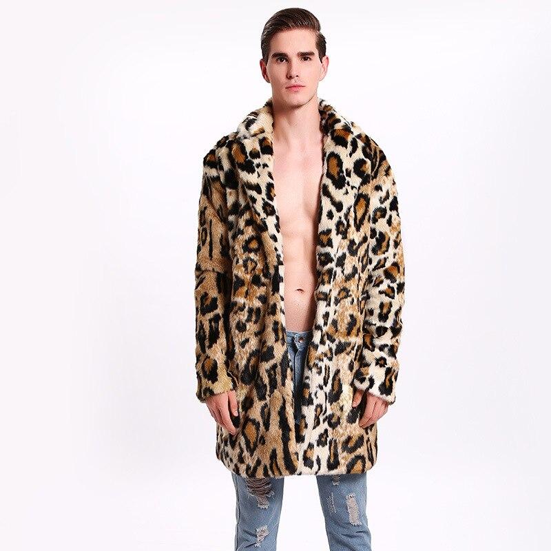 2018 Neue Männer Hohe Qualität Leopard Pelz Langen Mantel Drehen-unten Kragen Trends Faux Kaninchen Pelz Leder Jacke Herren Lose Warme Mantel Gut FüR Energie Und Die Milz