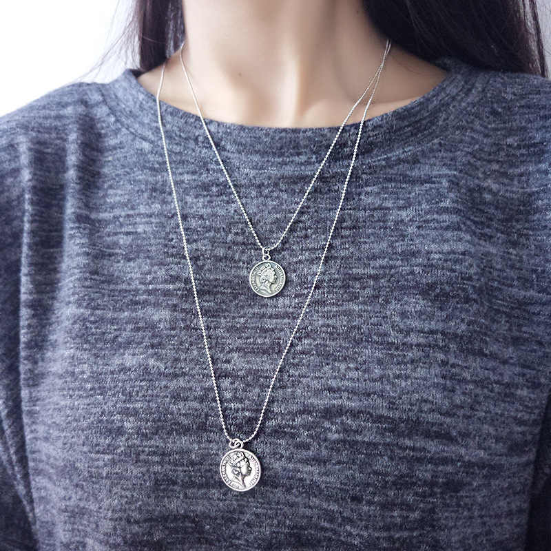 92.5 Sterling Silver Antique Coin Simple Necklace