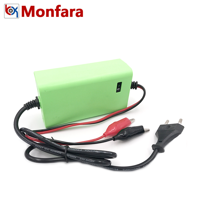 <font><b>12V</b></font> 2A Motorcycle Car <font><b>Lead</b></font> <font><b>Acid</b></font> <font><b>Battery</b></font> Charger 12 Volt 2 AMP Kids Auto Motor Power Charge <font><b>7AH</b></font> 8AH 10AH 12AH 15AH 17AH 20AH 6AH image