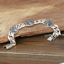 С фабрики S925 стерлингового серебра ювелирные изделия мужские модные серебряные ручной работы Ретро тайский серебряный глаз король змея браслет