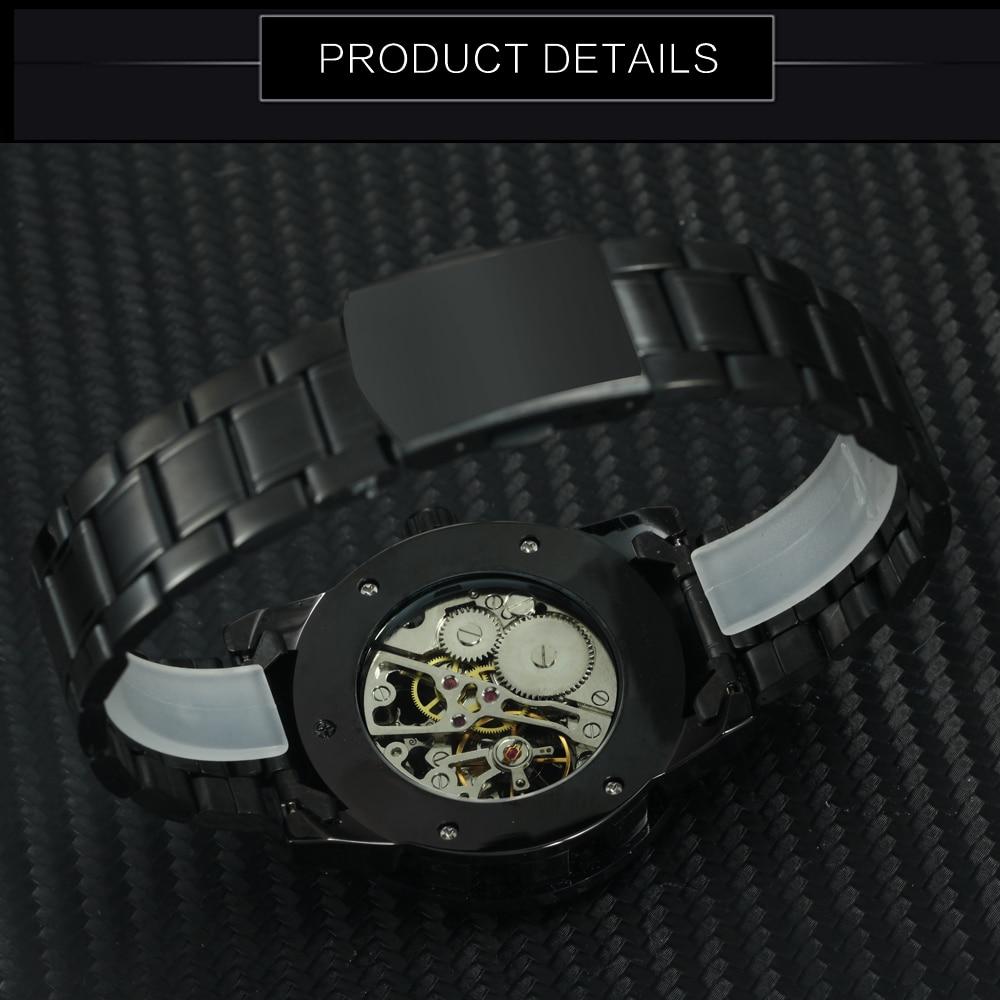 2019 WINNER Mechanical Watches For Men Hand-wind Steel Watches Roman Number Skeleton Wristwatches Luminous Hands reloj hombre