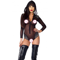 Steampunk Studded Sheer Mesh Bodysuit Sexy Costumes Nun Cosplay Plus Size Erotic Hooded Long Sleeve Babydoll Lingerie Women