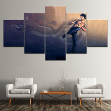 Canvas Painting Kung Fu Superstar Bruce Lee 5 Pieces Wall Art Painting Modular Wallpapers Poster Print for living room Decor wall hanging bruce lee kung fu dragon tapestry