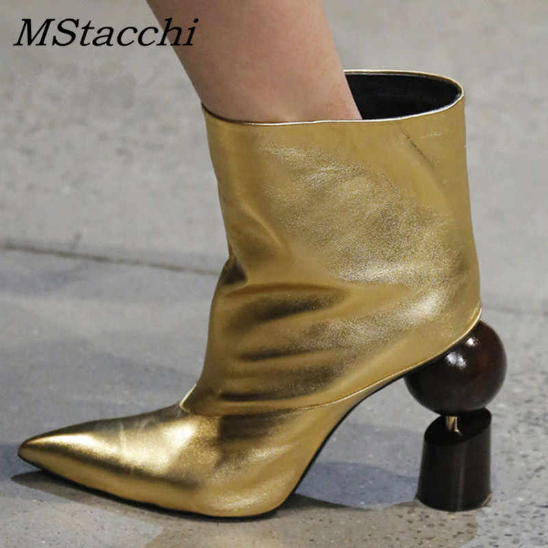 09958684ac Mstacchi 2019 Mismatched Wood Heels Women Boots Runway Brand Design Women  Shoes Strange Style Slip on