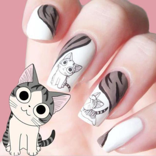 1 Sheets 3D Black Cute Cat Design Nail Art Sticker Manicure Decal ...