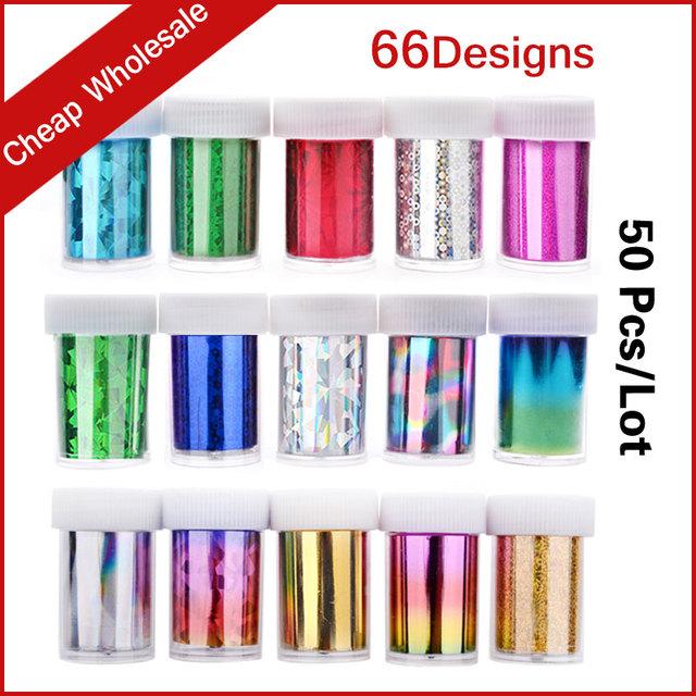 66 Diseños 50 unids/set Caliente Transferencia Art Nail Foil Papel Adhesivo Estilo DIY Belleza de Uñas Decoración de Uñas Herramientas