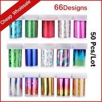 66Designs 50pcs Lot Hot Nail Art Transfer Foil Sticker Paper DIY Beauty Polish Style Nail Decoration