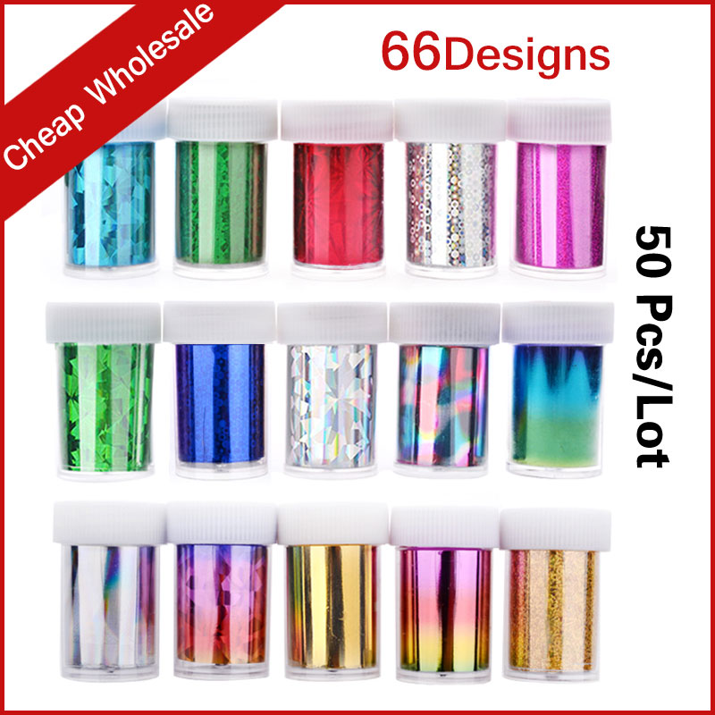 66Designs 50pcs/set Hot Nail Art Transfer Foil Sticker Paper DIY Beauty Polish Style Nail Decoration Tools hot sale 20 sheets lot 20 4cm nail art transfer foil floral serial sexy black lace pattern nail sticker foil material diy wy188