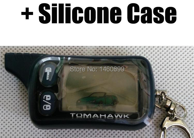 Freeshipping TZ 9010 LCD Remote Control Key Fob +Gift Silicone Case For Russian 2-Way Car Alarm Keychain Tomahawk TZ9010 TZ-9010