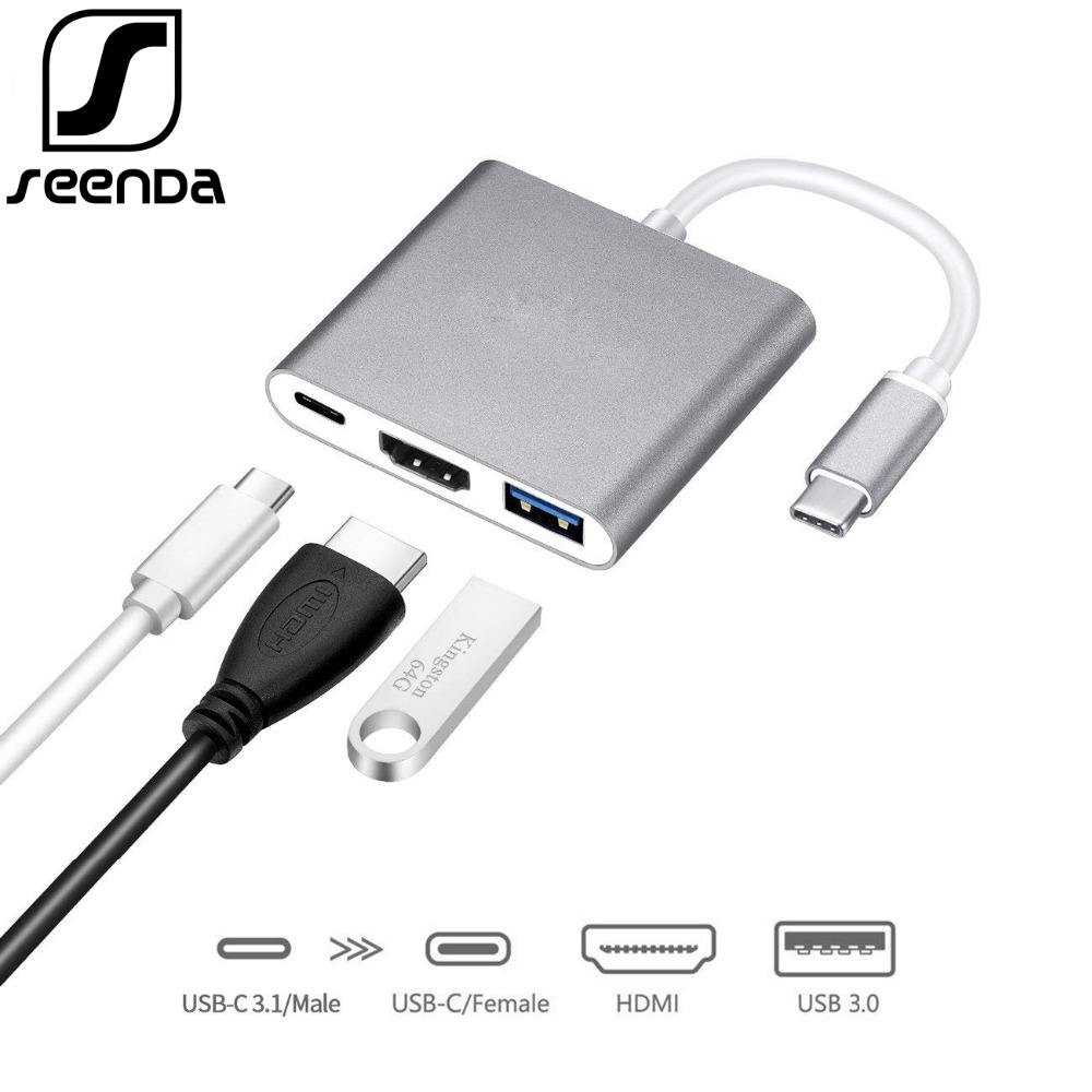 SeenDa USB 3.1 Type-C Adapter Multi-port Male to HDMI USB 3.0 USB-C Hub Splitter for Macbook Pro/Samsung Galaxy S8/Huawei/TV/PC набор стикеров на папки контрагенты 6 шт 0103015