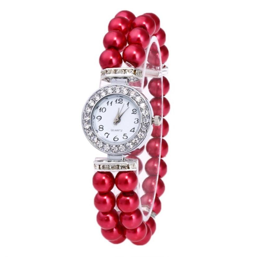 Timezone #401 Fashion Women Casual Pearl String Watch Strap Quartz Wrist Rhinestone Watch Free Shipping