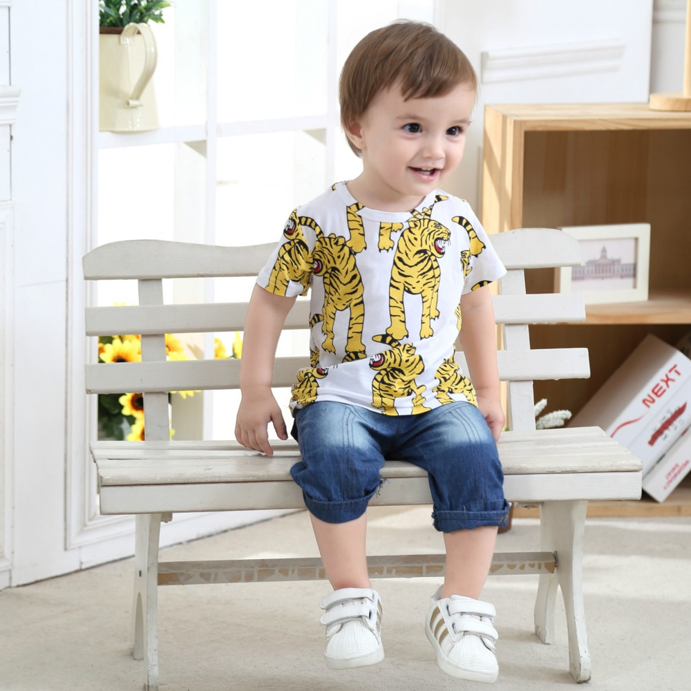 Tiger Boys Tops T-Shirts Kids Clothes Animal Printed-Pattern Funny Summer Cheap for Handsome