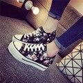 Moda sapatos de Plataforma Estilo Preppy Sapatas de Lona Florais para Mulheres Respirável Mulheres Sapatos Casuais Meninas Sapatos de Sola Grossa Calçados N9153