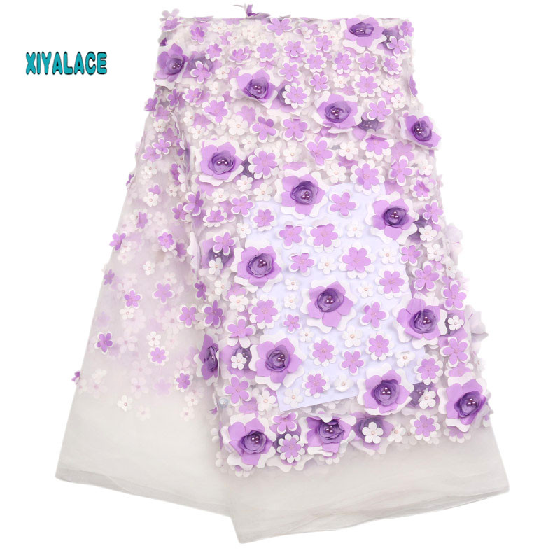 Nigerian African Lace Fabric High Quality Lace 3D Flowers Tullle Lace Fabric French Beads Lace Fabric Party Beads YA1719B-1