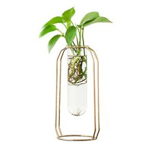 Nordic Glass Cuvette Vase Modern Gold Plated Iron Flower Vase Fashion Plant Vase Creative Terrarium Room Home Wedding Decorati(China)