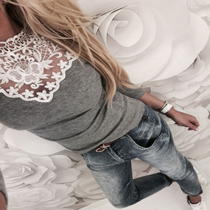 Women`s NEW  Arrival Long-Sleeve Casual Lace Patchwork Loose Cotton Pullover Tops Sweatshirts