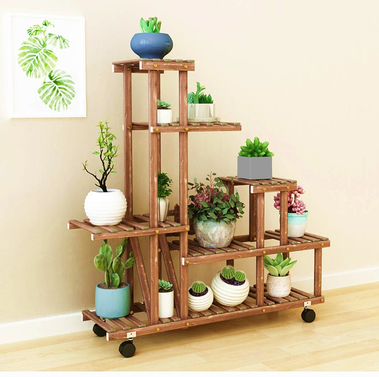 Wooden Flower Pot Stand Wood Plant Display Shelf Home Garden Outdoor Decorative