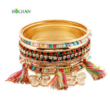 New women new multicolor fringes bracelet bangles crystal flower arm cuff  big Gold-color tirbal ethnic bangle tassel pulseiras e6dfbc64acde