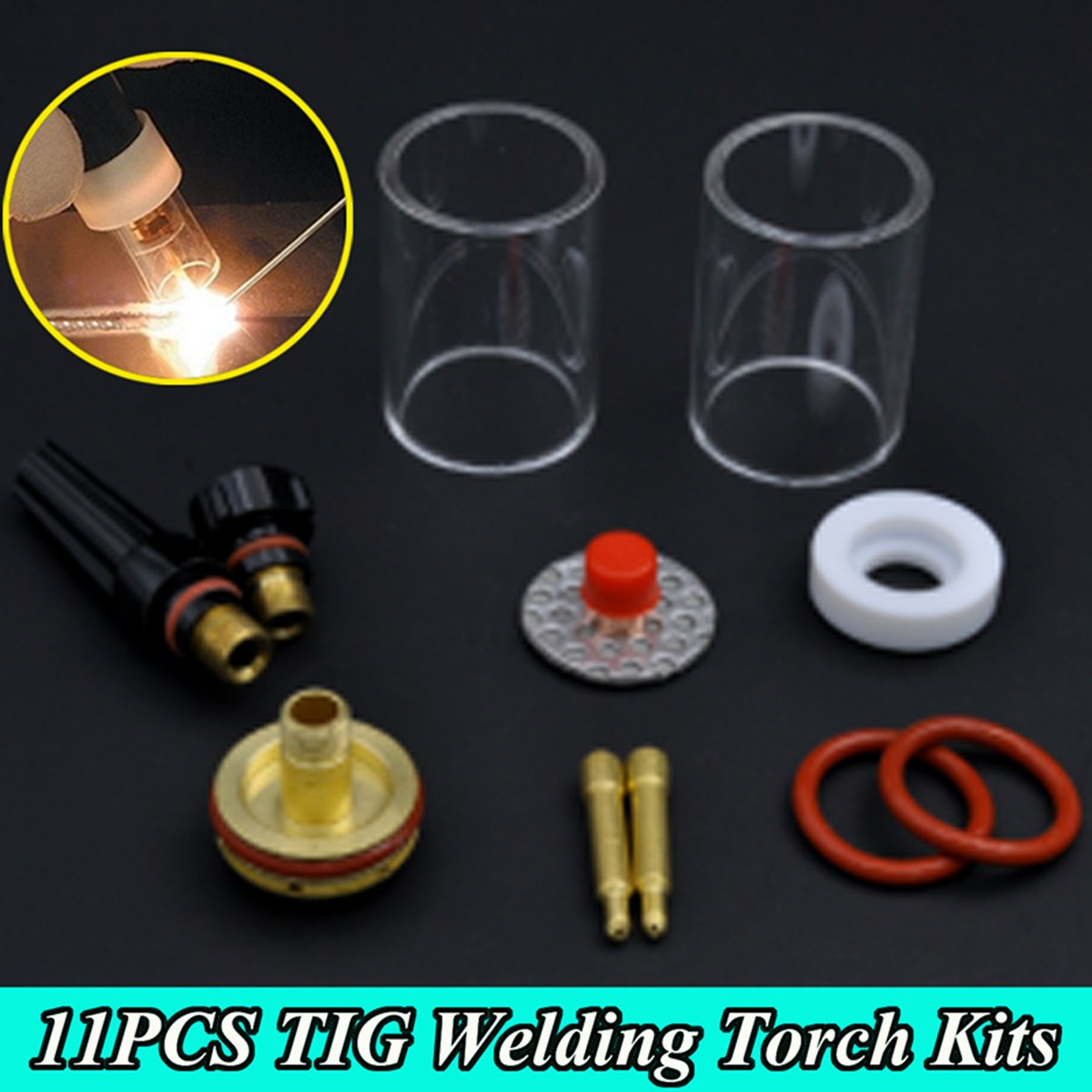 New 11Pcs TIG Welding Torch Stubby Gas Lens Glass Cup Kit For WP17/18/26 2.4mm 3/32 wp 17f sr 17f tig welding torch complete 17feet 5meter soldering iron flexible