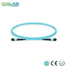 Fêmea da ligação em ponte do cabo om3 upc do remendo da fibra de mpo de 15m 12 núcleos ao cabo fêmea do tronco do multimodo do cabo de remendo, tipo a tipo b tipo c