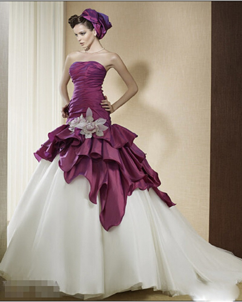 Ivory Ball Gown Wedding Dress: Purple And Ivory Two Tones Ball Gown Wedding Dresses-in