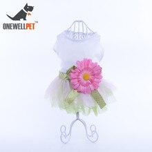 Esküvői dekoráció Kutya ruha Divat Fehér pamut ruhák Bowknot és nagy V. Virágok S XXL Kicsi vagy közepes Pet Dog