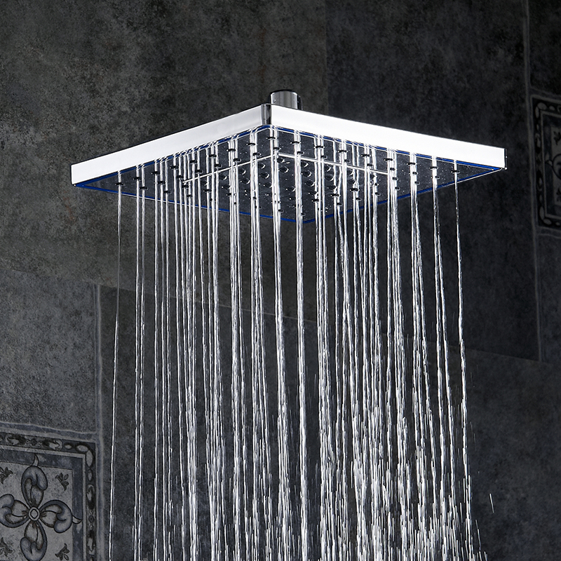 Shower Heads ABS Plastic Wall Mounted Rainfall Top Shower Head Handheld Ultra thin Square Rain Shower Faucet Without Arm FS236