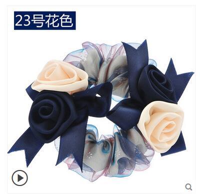 סיטונאי מפעל Zhang ידני לקשט Bow בארה 'ב קוריאני חבל מעגל עניבת שיער גומי פרח מחרוזת Headrope