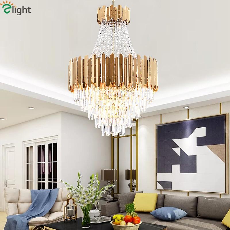 Post Modern Luxury Lustre Titanium Gold Steel Led Pendant Lights Luminaria  K9 Crystal Led Hanging Lamp Lighting Fxiture Lamparas