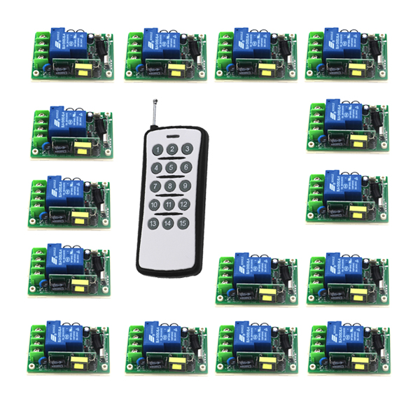 Free Shipping AC 85-250V 30A 1CH Learning Code RF Wireless Remote Control Switch Systems 15 Receiver 433MHZ 315MHZ 5480 free shipping learning code 315mhz dc12v 10a 4ch wireless remote control switch system rf remote control light lamps 433mhz page 8