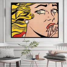 Famous Artist Roy Lichtenstein Crying Girl Replica Canvas Painting Wall Abstract Poster Pictures For Living Room Decor No Frame