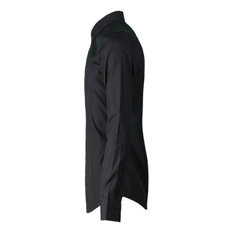 Solide Camisas Chemises 2018 Plus Coton Taille Casual Mâle Masculina Hommes Doux Chemise Noir À D'affaires Confortable La 100 Slim Longues Manches Robe blanc wOTqznUwp