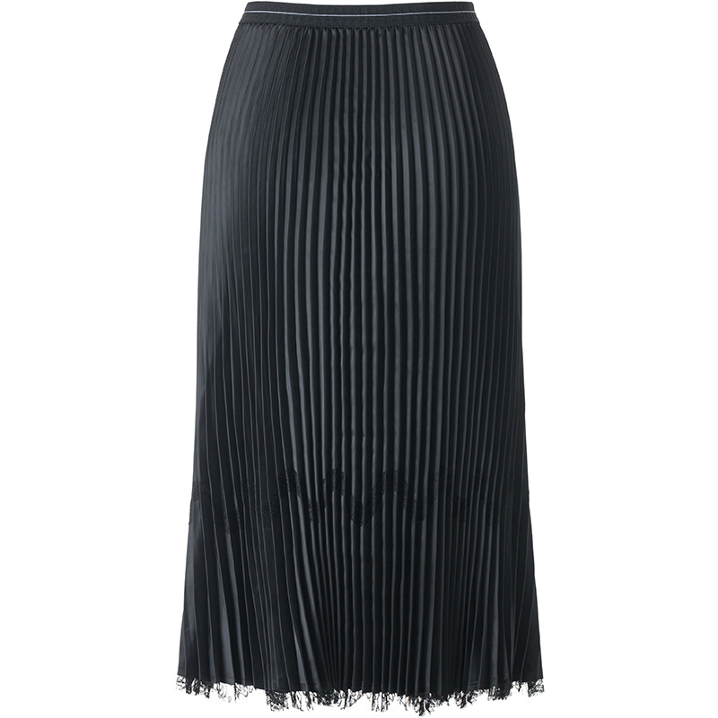Double faced winter and winter wear lace pattern pleated skirt high waist medium long fashion style skirt MIYAKE