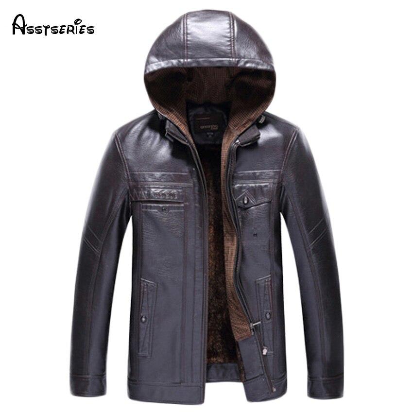 Бесплатная доставка Кожаная Куртка Мужчины Модный Бренд Высокого Качества Теплая Зима Бизнес Случайные Мужские Кожаные Куртки Пальто 120hfx