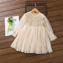 Весенние детские платья для девочек; платье с длинными рукавами; праздничное платье для маленьких девочек; детское Кружевное платье-пачка; одежда для малышей