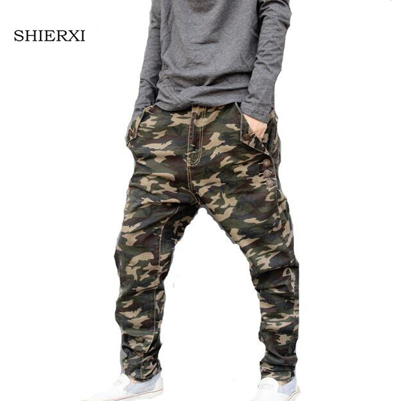 New Low rise Men elastic Pants Camouflage Harem Personality Male Plus Size pencil pants