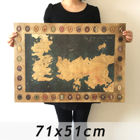 Game of Thrones Map Vintage Kraft Movie Poster Retro Wall art crafts sticker Living Room Paint Bar Cafe Painting 71x51cm