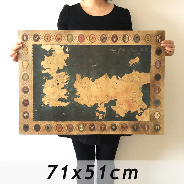 Game of thrones world map vintage kraft movie poster retro wall art game of thrones world map vintage kraft movie poster retro wall art crafts sticker living room gumiabroncs Choice Image