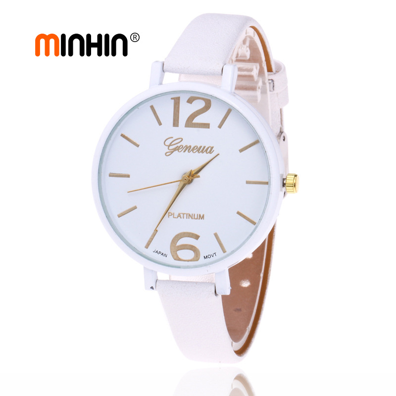 MINHIN Ladies Graceful Watches Leather Strap Casual Quartz Wristwatches Wholesale Women Gift Watch Jewelry Relogio Feminino