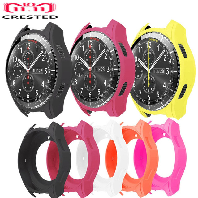 CRESTED Silicone Watch frame Case Cover For Samsung Gear S3 Frontier Band replac