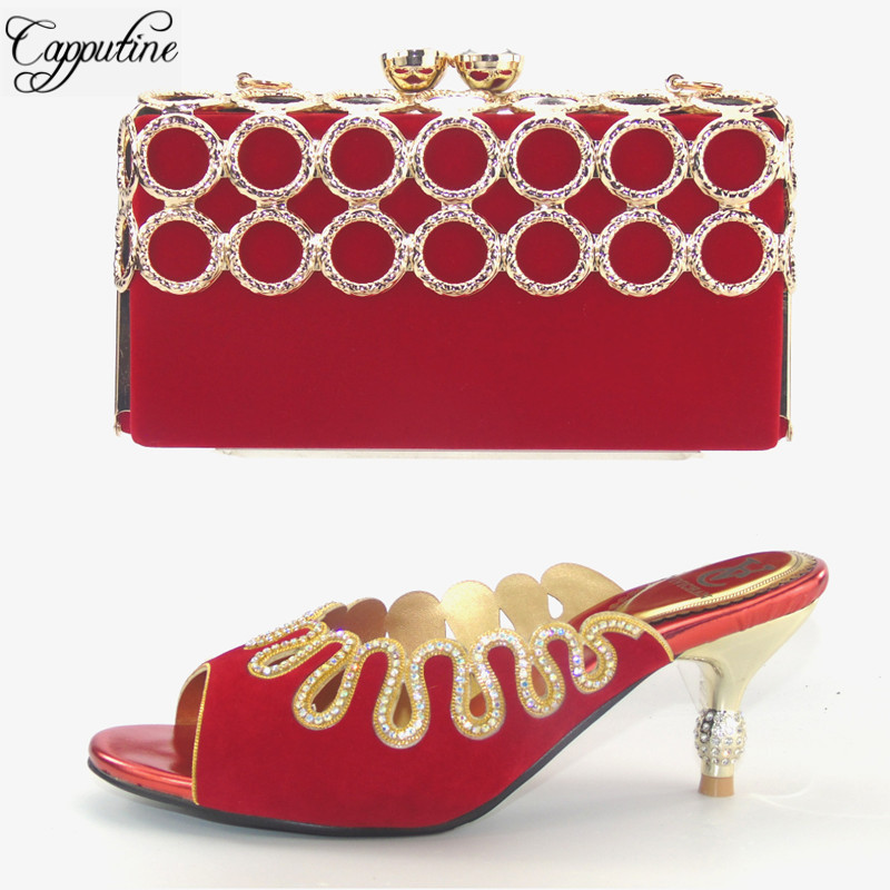 Capputine New Italian Shoes Metal Decoration With Matching Bags For Party African Summer Spike Heel Shoes And Bags Set For Party
