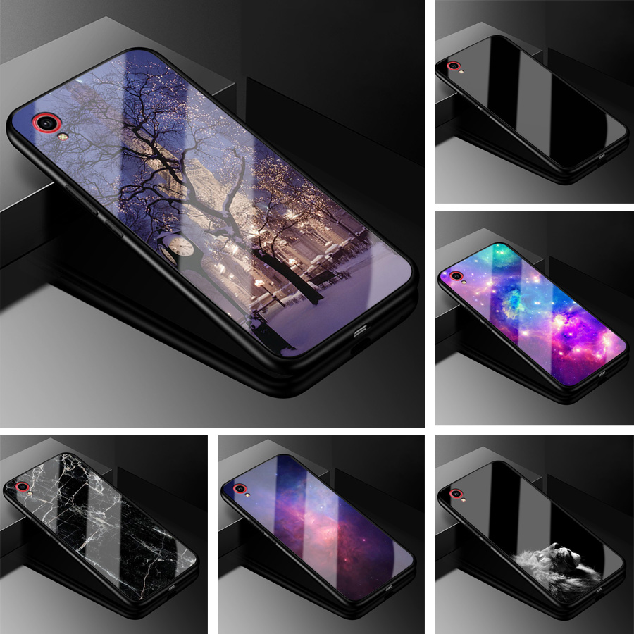 For Vivo Y91c Case Y91i PC Plastic Glass Phone Case Black TPU Bumper Cover For Vivo Y91i Vivo Y91c Tempered Glass Hard Cover