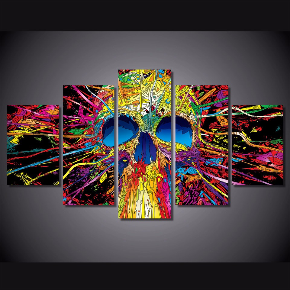 5 Pcs Colorful Skull Skeleton Canvas HD Printed Poster Frame Painting Wall Art Pictures Framework Tableau 5 Panneaux5 Pcs Colorful Skull Skeleton Canvas HD Printed Poster Frame Painting Wall Art Pictures Framework Tableau 5 Panneaux