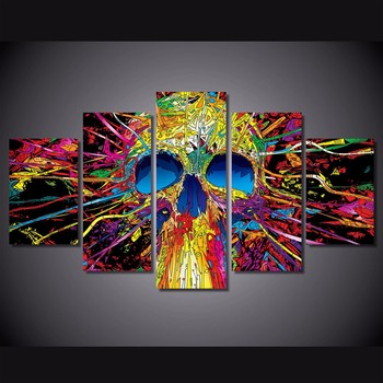 5 Pcs Colorful Skull Skeleton Canvas HD Printed Poster Frame Painting Wall Art Pictures Framework Tableau 5 Panneaux