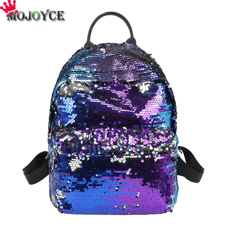 Women Sequins PU Leather Backpack Female Mochila All-match Backpacks Princess Bling Fashion Small Back Pack For Teenage Girls 2017 new women girl children all match bag pu leather sequins backpack girls small travel princess bling backpacks
