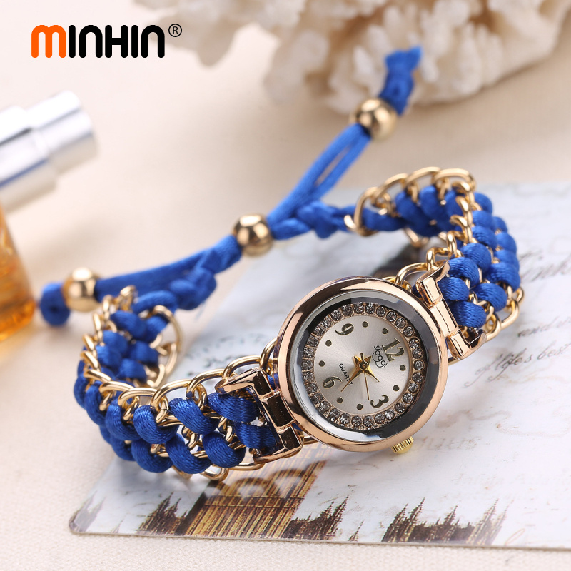 MINHIN Women Handmade Bracelet Watches New Design Rope Beads Knitting Adjustable Wristwatches Gift Mini Dial Relogio Feminino