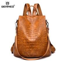 GNEMEO New Arrival Multi Function Leather Backpack Female Alligator Grain Backpacks with Shoulder Strap Bolsa Feminina цена